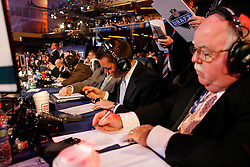 Philadelphia Eagles Video Director Mike Dougherty and Video Assistant Kevin Dougherty man the Eagles Draft table during the first round of the NFL Draft on April 26th 2012 at Radio City Music Hall in New York, New York. (AP Photo/Brian Garfinkel)