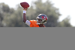 July 28, 2018 - Tampa, FL, U.S. - TAMPA, FL - JULY 28: Jameis Winston (3) throws the ball upfield during the Tampa Bay Buccaneers Training Camp on July 28, 2018 at One Buccaneer Place in Tampa, Florida. (Photo by Cliff Welch/Icon Sportswire) (Credit Image: © Cliff Welch/Icon SMI via ZUMA Press)