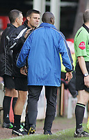 Photo: Paul Thomas.<br /> Walsall v Southend. Coca Cola League 1.<br /> 13/08/2005.<br /> <br /> Steve Tilson, the Southend manager has a quick word with Shaun Goater before he goes on. He later scored the equalising goal.