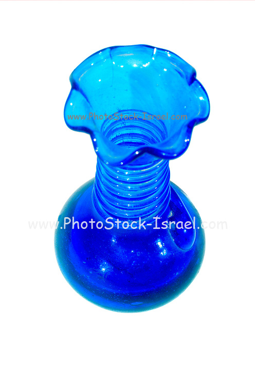 Blue Hebron Glass Vase, Glassblowing in Hebron is a traditional industry