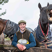 Former Grand National winner Ryan Mania with some horses next to his home near Peebles. Ryan is a 'Master Huntsman' and also plays full back for Duns amateur rugby team.<br /> The horse on the left is Mr Moonshine and the horse on the right is Argo.<br /> <br /> <br /> <br /> Picture Robert Perry  for The Times 10th April 2018