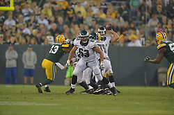 David Molk #63 of the Philadelphia Eagles against the Green Bay Packers at Lambeau Field on August 29, 2015 in Green Bay, Pennsylvania. The Eagles won 39-26. (Photo by Drew Hallowell/Philadelphia Eagles)