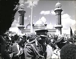 Nov. 11, 1975 - President Idi Amin Leaving The Jamia Mosque In Nairobi Where He Went For Evening Prayers Before Departing For Uganoa. (Credit Image: © Keystone Press Agency/Keystone USA via ZUMAPRESS.com)