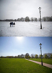 © Licensed to London News Pictures. 19/04/2018. London, UK. In this combination image people are seen on Clapham Common in the snow on March 1st 2018 (TOP) and in the same spot today (lower) as parts of the UK are enjoying high unseasonal April temperatures. Photo credit: Peter Macdiarmid/LNP