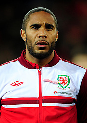 Wales Captain, Ashley Williams (Swansea city) sheds a tear in during the national anthem in what was an emotional night - Photo mandatory by-line: Joe Meredith/JMP  - Tel: Mobile:07966 386802 12/10/2012 - Wales v Scotland - SPORT - FOOTBALL - World Cup Qualifier -  Cardiff   - Cardiff City Stadium -