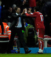 Photo: Jed Wee/Sportsbeat Images.<br /> Middlesbrough v Arsenal. The FA Barclays Premiership. 09/12/2007.<br /> <br /> Middlesbrough goalscorer Tuncay Sanli (R) runs to under pressure manager Gareth Southgate to celebrate with him after scoring.