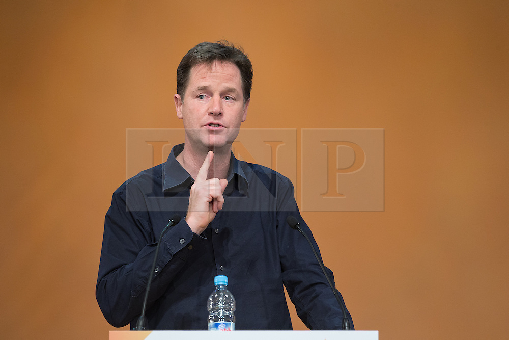 © Licensed to London News Pictures . 06/10/2014 . Glasgow , UK . NICK CLEGG , Liberal Democrat leader and Deputy Prime Minister , holds a Q and A session . The Liberal Democrat Party Conference 2014 at the Scottish Exhibition and Conference Centre in Glasgow . Photo credit : Joel Goodman/LNP