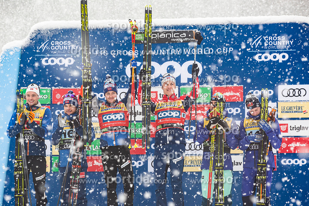 Sindre Bjoernestad Skar (NOR), Erik Valnes (NOR), Gjoeran Tefre (NOR), Haavard Solaas Taugboel (NOR), Ristomatti Hakola (FIN) celebrating man team sprint race at FIS Cross Country World Cup Planica 2019, on December 22, 2019 at Planica, Slovenia. Photo By Peter Podobnik / Sportida