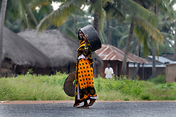 A Tanzanian woman carries a huge pot to make rice for her village. The dense forest and tall grasses make villagers vulnerable to lion attacks. They have to stay late in the evening in their fields to protect their crops from rampaging monkeys who like to eat the rice and corn, forcing them to walk at sunset, the time of day when lions are out looking fo prey.  Ami Vitale