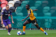 Newport County's Saikou Janneh (20) under pressure from Tranmere Rover's Kieron Morris (7) during the EFL Sky Bet League 2 match between Newport County and Tranmere Rovers at Rodney Parade, Newport, Wales on 17 October 2020.