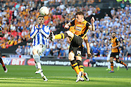 Andrew Robertson of Hull City gets to the ball ahead of Gary Hooper of Sheffield Wed (l). Skybet football league Championship play off final match, Hull city v Sheffield Wednesday at Wembley Stadium in London on Saturday 28th May 2016.<br /> pic by John Patrick Fletcher, Andrew Orchard sports photography.