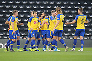 Celebrations as Southampton open the scoring with an own goal from Derby County defender Richard Keogh during the The FA Cup 3rd round match between Derby County and Southampton at the Pride Park, Derby, England on 5 January 2019.