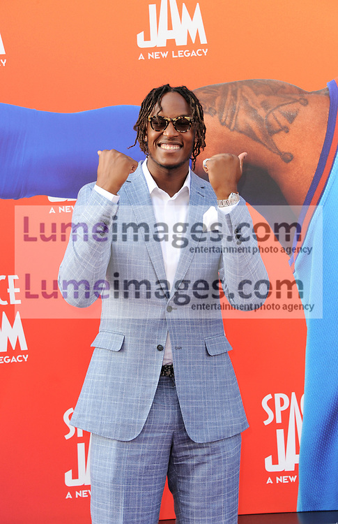 Myles Turner at the Los Angeles premiere of 'Space Jam: A New Legacy' held at the Regal LA Live in Los Angeles on July 12, 2021.