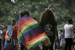 September 22, 2017 - Sao Paulo, Brazil - a group of people shout slogans in demonstration against the decision of Judge Waldemar Cláudio de Carvalho of the 14th Federal District Court, magistrate granted an injunction that, in practice, makes it legally possible for psychologists to offer sexual reversion therapies, popularly called gay cure, on occasion, he argued scientific freedom to make the decision on Paulista Avenue in Sao Paulo (Credit Image: © Dario Oliveira via ZUMA Wire)