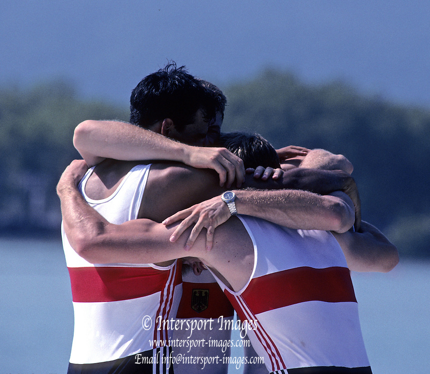 Barcelona, SPAIN.  GER M4X Gold Medalist, .Bow, Andreas HAJEK, Michael STEINBACH, Stephan VOLKERT and  Stroke, Andre WILLMS 1992 Olympic Rowing Regatta Lake Banyoles, Catalonia [Mandatory Credit Peter Spurrier/ Intersport Images]