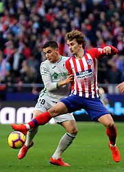 MADRID, Jan. 27, 2019  Atletico Madrid's Antoine Griezmann (R) and Getafe's Mauro Arambarri compete during a Spanish league match between Atletico Madrid and Getafe in Madrid, Spain, on Jan. 26, 2019. Atletico Madrid won 2-0. (Credit Image: © Edward F. Peters/Xinhua via ZUMA Wire)