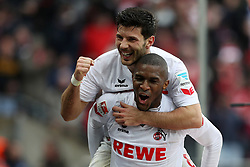 COLOGNE, March 19, 2017  Anthony Modeste (Bottom) of 1. FC Koeln celebrates with teammate Milos Jojic after scoring during the Bundesliga match between 1. FC Koeln and Hertha BSC in Cologne, Germany, on March 18, 2017. The team of 1. FC Koeln won 4-2. (Credit Image: © Ulrich Hufnagel/Xinhua via ZUMA Wire)
