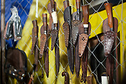 Detail shot of Gaucho knives in stall shop. Gaucho cowboy Rodeo, Flores de Cunha, Rio Grande do Sul.