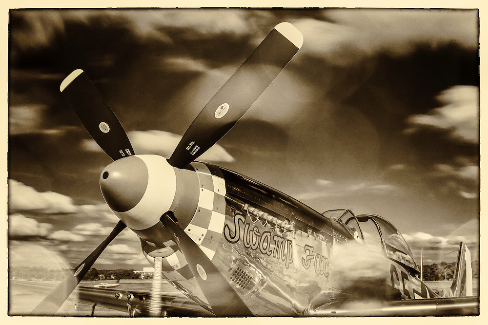 """The """"Swamp Fox"""", a fully restored and airworthy P-51D Mustang fighter plane. <br /> <br /> Created by aviation photographer John Slemp of Aerographs Aviation Photography. Clients include Goodyear Aviation Tires, Phillips 66 Aviation Fuels, Smithsonian Air & Space magazine, and The Lindbergh Foundation.  Specialising in high end commercial aviation photography and the supply of aviation stock photography for advertising, corporate, and editorial use."""
