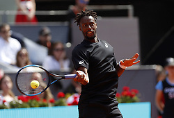 May 9, 2019 - Madrid, Madrid, Spain - Gael Monfils of France seen in action against Roger Federer of Switzerland during day seven of the Mutua Madrid Open at La Caja Magica in Madrid, Spain. (Credit Image: © Manu Reino/SOPA Images via ZUMA Wire)