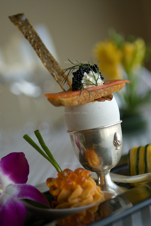 A 'Samon Variation' by Chef Ingo Moeller at the grill room of the Chambers restaurant. The Taj Mahal Hotel, New Delhi