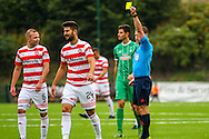 Hamilton Academical Defender Jesus Garcia Tena yellow carded of tackle during the Ladbrokes Scottish Premiership match between Hamilton Academical FC and Celtic at New Douglas Park, Hamilton, Scotland on 4 October 2015. Photo by Craig McAllister.