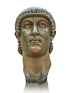 Roman gilded bronze head of Emperor Constantine dating from about 330-337 AD.. Inv 5.13, The Capitoline Museums, Rome ...<br /> <br /> If you prefer to buy from our ALAMY STOCK LIBRARY page at https://www.alamy.com/portfolio/paul-williams-funkystock/greco-roman-sculptures.html . Type -    Capitoline    - into LOWER SEARCH WITHIN GALLERY box - Refine search by adding a subject, place, background colour, etc.<br /> <br /> Visit our ROMAN WORLD PHOTO COLLECTIONS for more photos to download or buy as wall art prints https://funkystock.photoshelter.com/gallery-collection/The-Romans-Art-Artefacts-Antiquities-Historic-Sites-Pictures-Images/C0000r2uLJJo9_s0