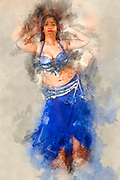 Digitally enhanced image of a Belly dancer in blue skirt and top