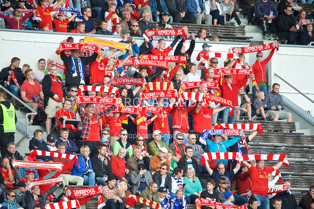 HELSINKI, FINLAND - Friday, July 31, 2015: Liverpool supporters before a friendly match  against HJK Helsinki at the Olympic Stadium. (Pic by David Rawcliffe/Propaganda)