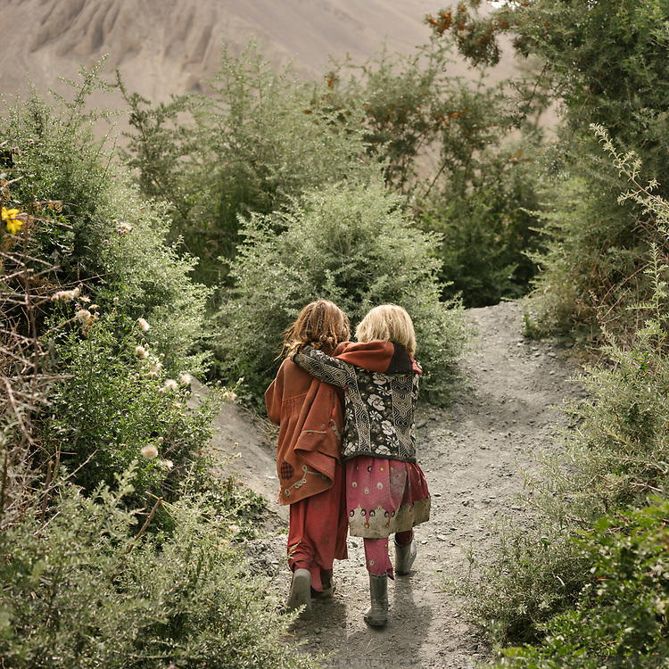Two young girls (Anor Gul, 6 and Gul Shira, 7) just stepped out of the house to meet with boys and go get wood – one of the many chores. They are walking past bushes of seabuck thorn, a fast growing bush used as fuel and to fence off animals.<br /> The traditional life of the Wakhi people, in the Wakhan corridor, amongst the Pamir mountains.