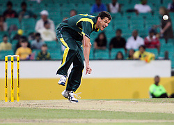 © Licensed to London News Pictures. 17/02/2012. Sydney Cricket Ground, Australia. Clint McKay bowls during the One Day International cricket match between Australia Vs Sri Lanka. Photo credit : Asanka Brendon Ratnayake/LNP