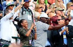Corey Gauff, father of Cori Gauff and his wife Candi celebrate their daughter's victory over Venus Williams on day one of the Wimbledon Championships at the All England Lawn Tennis and Croquet Club, Wimbledon.