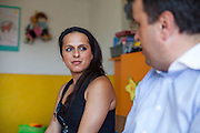 """Paralegal Romina Kajtazova and Vladko from the Health Insurance Found (HIF) during the workshop (community event) about """"Patients rights"""" for the Roma community at the local kindergarten in Crnik."""