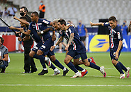 Players of PSG celebrate the victory after winning the penalty shootout during the French Ligue Cup final match between Paris Saint-Germain (PSG) and Olympique Lyonnais (OL, Lyon) on July 31, 2020 at the Stade de France, in Saint-Denis, near Paris, France - Photo Juan Soliz / ProSportsImages / DPPI