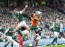 Hibernian's Paul Hanlon and Falkirk's keeper Michael McGovern..Hibernian 4 v 3 Falkirk, William Hill Scottish Cup Semi Final, Hampden Park...