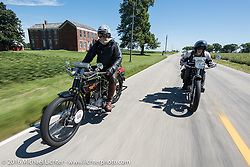 Vern Acres (L) of Ontario, Canada riding his 4-cylinder 1914 Henderson class-2 motorcycle beside Steve Macdonald of New York on his 4-cylinder Mark Hill restored 1912 class-2 Henderson during the Motorcycle Cannonball Race of the Century. Stage-4 from Chillicothe, OH to Bloomington, IN. USA. Tuesday September 13, 2016. Photography ©2016 Michael Lichter.