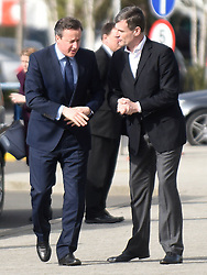 © Licensed to London News Pictures. 23/02/2016. Slough, UK. David Cameron arrives for a visit to O2 in Slough to speak to employees. Photo credit should read: Emma Sheppard/LNP