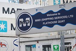 © Licensed to London News Pictures. 20/09/2016. Portsmouth, UK. The entrance to the MMD Shipping Services Ltd yard at Flathouse Quay in Portsmouth Dockyard. The cargo company, owned by Portsmouth City Council, has come under the spotlight of the European Commission's competition unit over whether a bailout from Portsmouth City Council gave the company an unfair advantage over it's competitors. The investigation comes after the UK's vote to leave the European Union. Photo credit: Rob Arnold/LNP