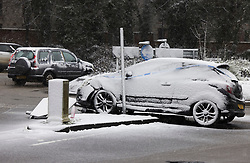 © Licensed to London News Pictures. 07/02/2021. Canterbury, UK. Blizzard conditions have caused a crash in Canterbury, Kent as parts of the south east of England are hit by the effects of Storm Darcy. Photo credit: Peter Macdiarmid/LNP