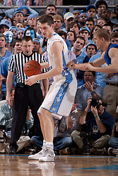 CHAPEL HILL, NC - MARCH 05: Tyler Zeller #44 of the North Carolina Tar Heels dribbles the ball while playing the Duke Blue Devils on March 05, 2011 at the Dean E. Smith Center in Chapel Hill, North Carolina. North Carolina won 67-81. (Photo by Peyton Williams/UNC/Getty Images) *** Local Caption *** Tyler Zeller