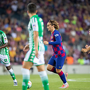 BARCELONA, SPAIN - August 25:  Antoine Griezmann #17 of Barcelona in action during the Barcelona V  Real Betis, La Liga regular season match at  Estadio Camp Nou on August 25th 2019 in Barcelona, Spain. (Photo by Tim Clayton/Corbis via Getty Images)