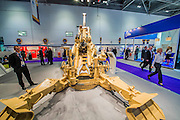 An M777 155mm Lighweight Towed Howitzer on the BAE Systems stand - The DSEI (Defence and Security Equipment International) exhibition at the Excel Centre, Docklands, London UK 15 Sept 2015
