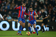 Ruben Loftus-Cheek of Crystal Palace (l) & Andros Townsend of Crystal Palace ® go for the same ball. Premier league match, Swansea city v Crystal Palace at the Liberty Stadium in Swansea, South Wales on Saturday 23rd December 2017.<br /> pic by  Andrew Orchard, Andrew Orchard sports photography.