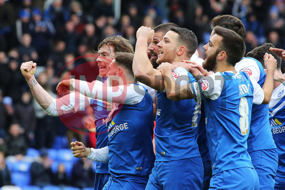 Peterborough United's Michael Bostwick celebrates scoring his goal with team-mates - Photo mandatory by-line: Joe Dent/JMP - Mobile: 07966 386802 - 21/03/2015 - SPORT - Football - Peterborough - ABAX Stadium - Peterborough United v Chesterfield - Sky Bet League One