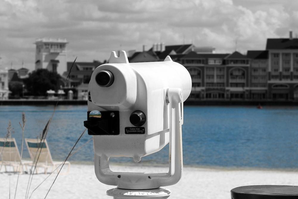 A viewfinder sits on the Boardwalk at Walt Disney World.