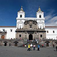 South America, Ecuador, Quito.  The impressive San Francisco Church in Quito's historical center, a UNESCO World Heritage site.