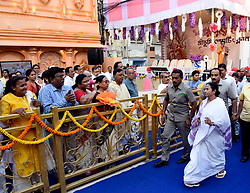 October 5, 2018 - Kolkata, West Bengal, India - West Bengal Chief Minister Mamata Banerjee (in front) inaugurated Sree Bhumi Sporting Durga Puja Pandal or makeshift platform ahead of Durga Puja Festival. (Credit Image: © Saikat Paul/Pacific Press via ZUMA Wire)