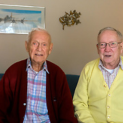 George Snyder, Jr., left, and Ken Snyder pose for a portrait at Ken's Dorian Drive home in Maumee, Ohio, on Saturday, Feb. 22, 2020. Brothers George Snyder, Jr., 97, and Ken Snyder, 96, both served in World War II. THE BLADE/KURT STEISS <br /> MAG WWIIVet01