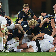 Matt Stevens, England lies beneath the collapsing scrum during the England V Scotland Pool B match during the IRB Rugby World Cup tournament. Eden Park, Auckland, New Zealand, 1st October 2011. Photo Tim Clayton...