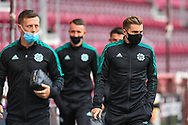James Forrest (#49) of Celtic FC (right) arrives at the stadium before the Cinch SPFL Premiership match between Heart of Midlothian FC and Celtic FC at Tynecastle Park, Edinburgh, Scotland on 31 July 2021.